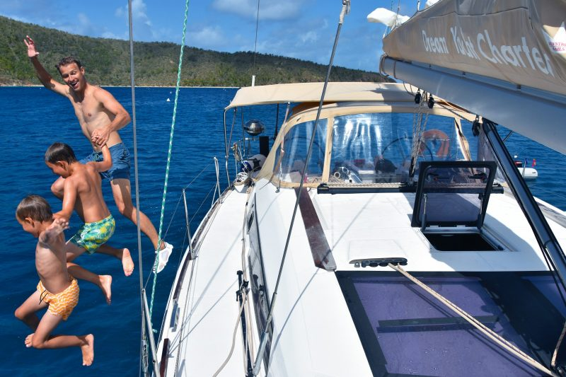 Jumping off the Boat with Dad Sail Yourself Holidays where you have all of the fun