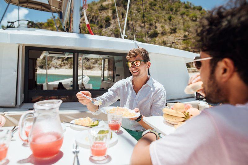 Breakfast on the Fabulous forward Dining area of the Bali Catamaran makes Bareboat Charter a dream
