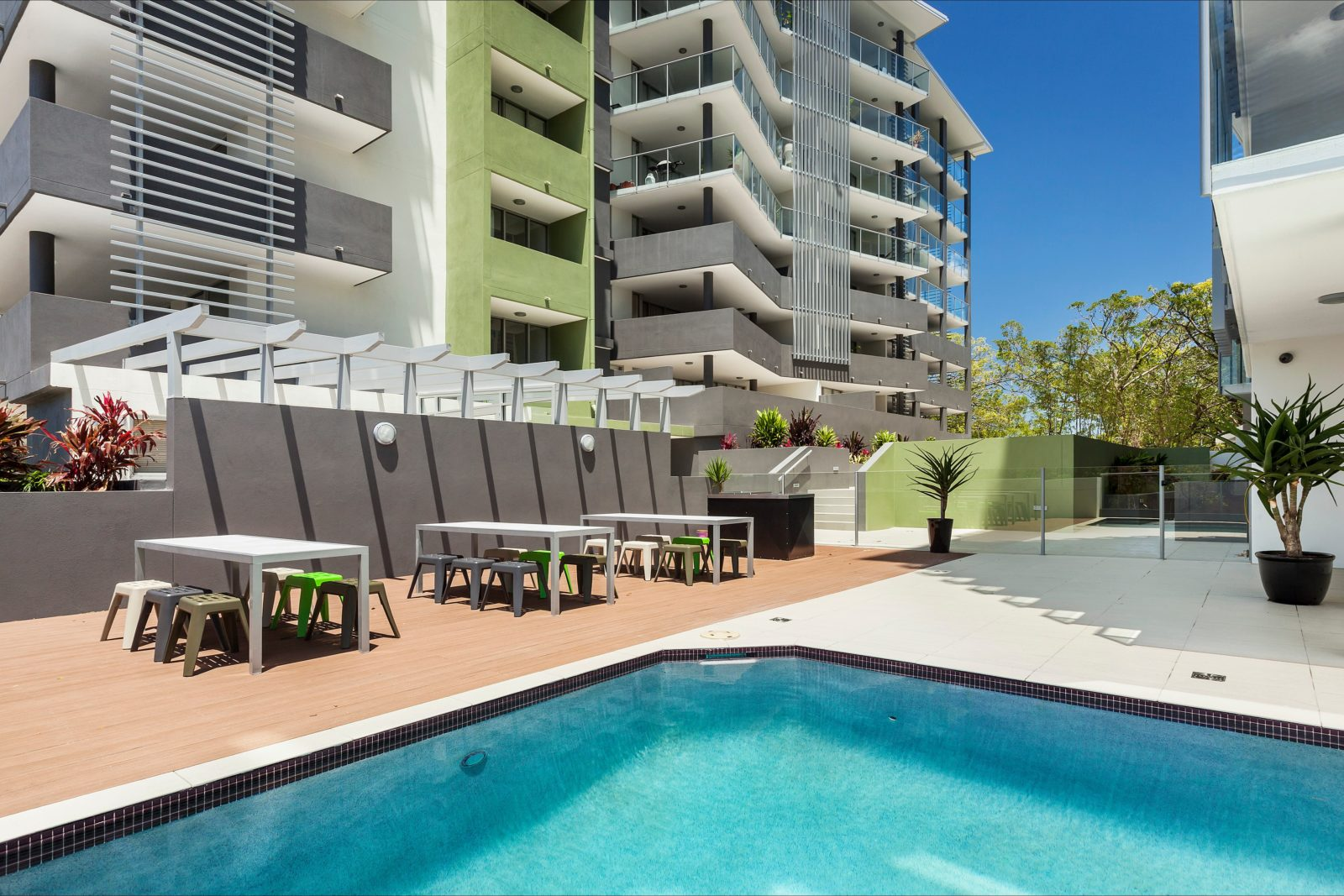 Outdoor swimming pool, with sundeck and BBQ area