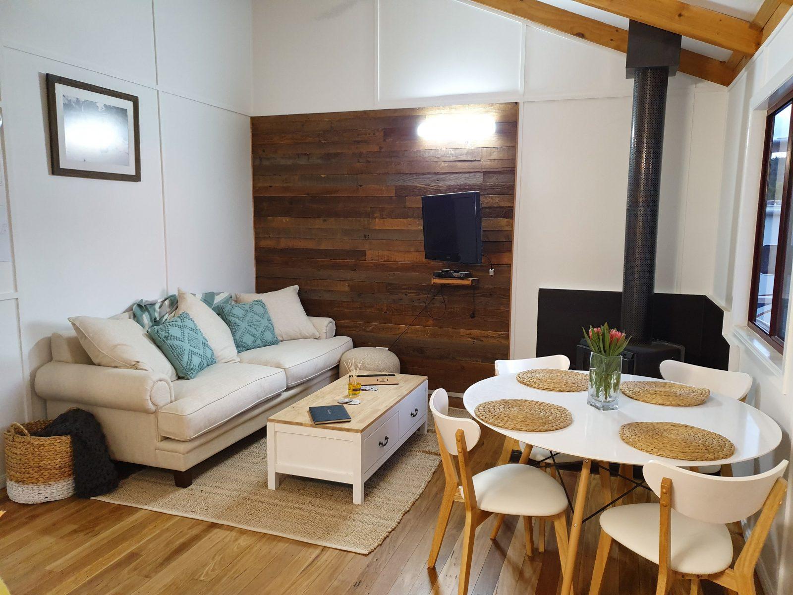 Lounge & Dining with wood fireplace