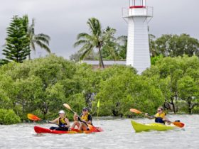 Kayaking around Cleveland Lighthouse