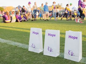 Bags of hope line the Relay For Life track.
