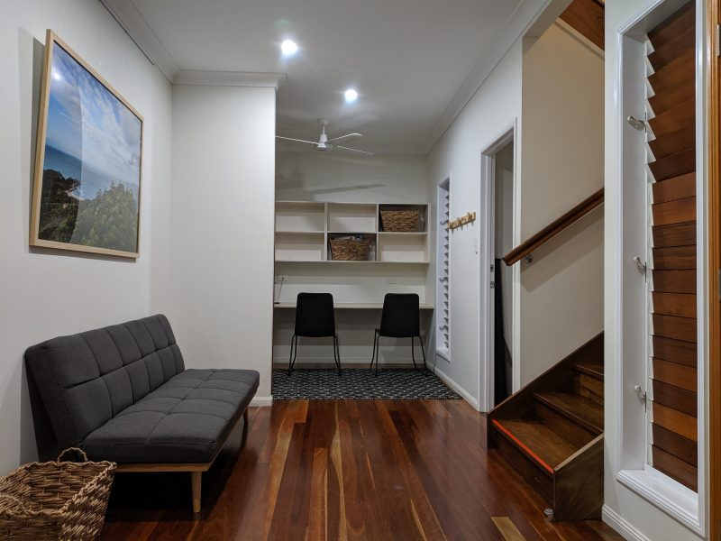 A generous entry area and study nook found just inside the front door