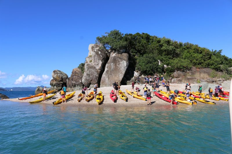 Kayakers at White Rock, Whitsunday Islands
