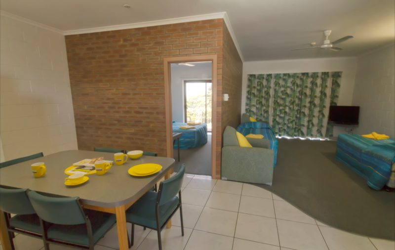 Large family rooms with full size kitchens