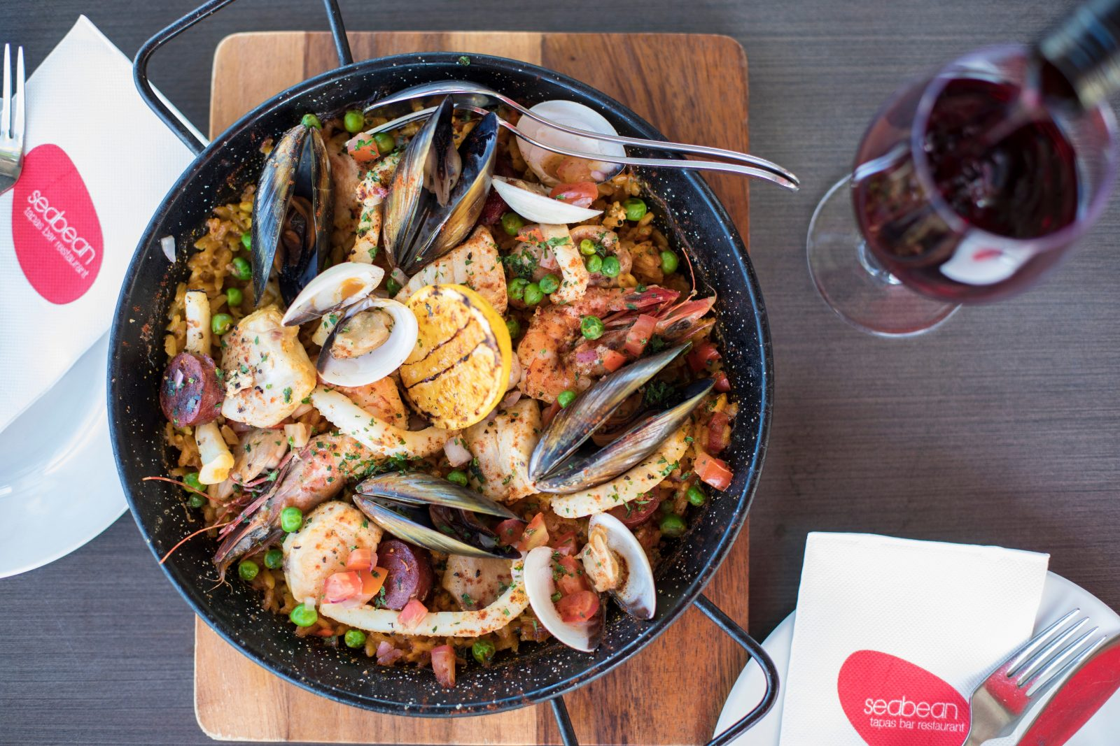 Valencia paella with chicken, chorizo, seafood