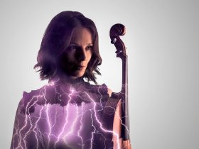 Woman holding viola superimposed with images of thunder