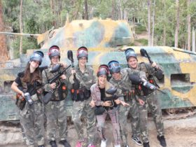 Paintball group having fun