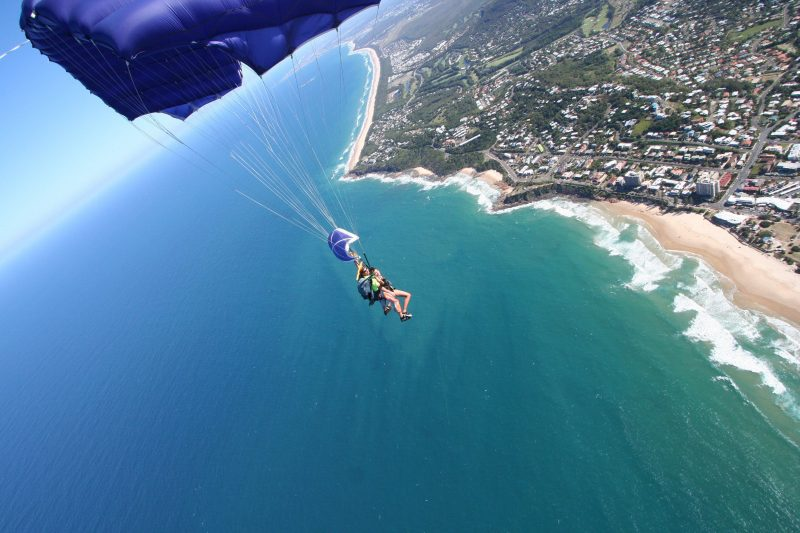 Tandem Skydive above Coolum Beach with Skydive Ramblers Sunshine Coast