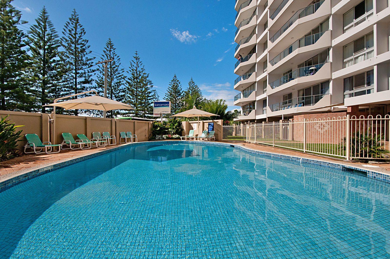 Sparkling blue heated pool at Solnamara