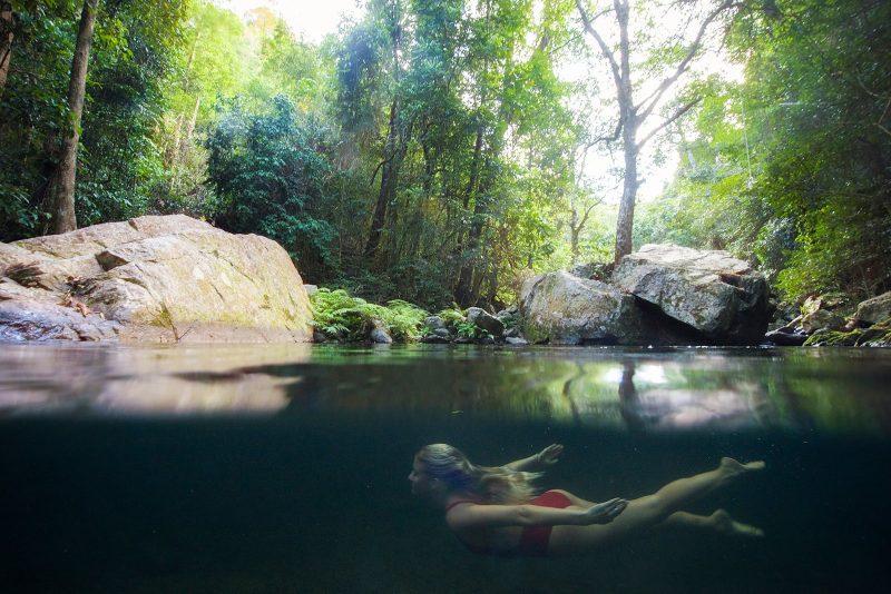 Woman swimming at Stoney Creek