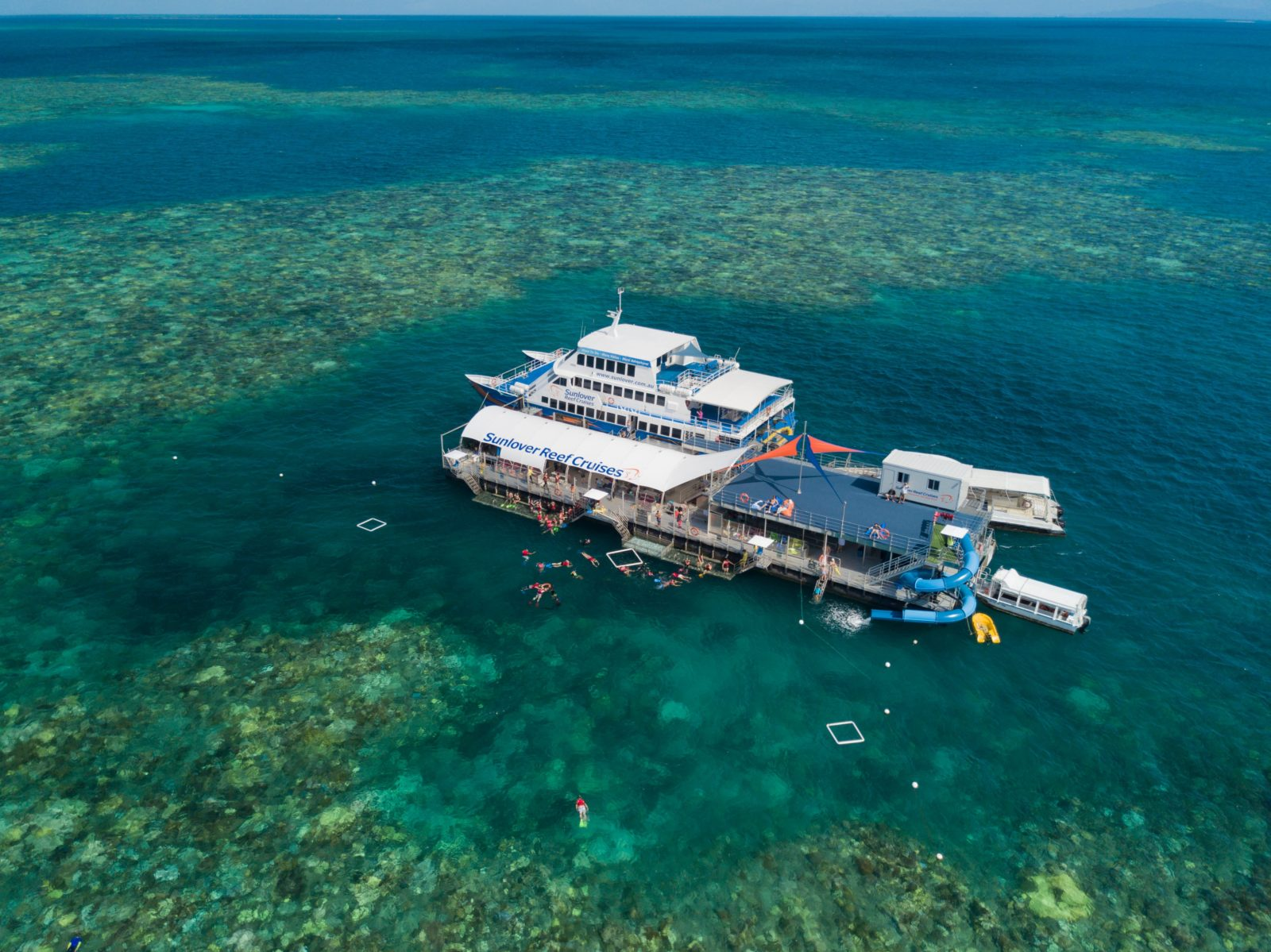 Sunlover Reef Cruises brand new multi-level pontoon, with theme park waterslide and large sundeck