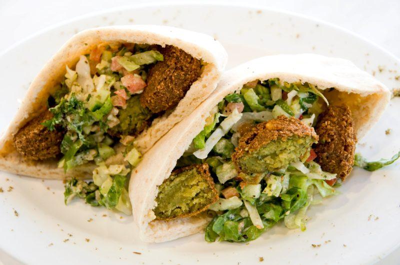 Pocket Pita filled with traditional falafels and salad