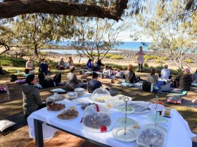 Yoga class under the trees, view of the beach with table of food