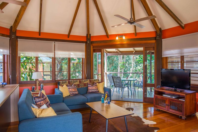 Interior lounge photo and view from The Rondawel in The African Village, Maleny