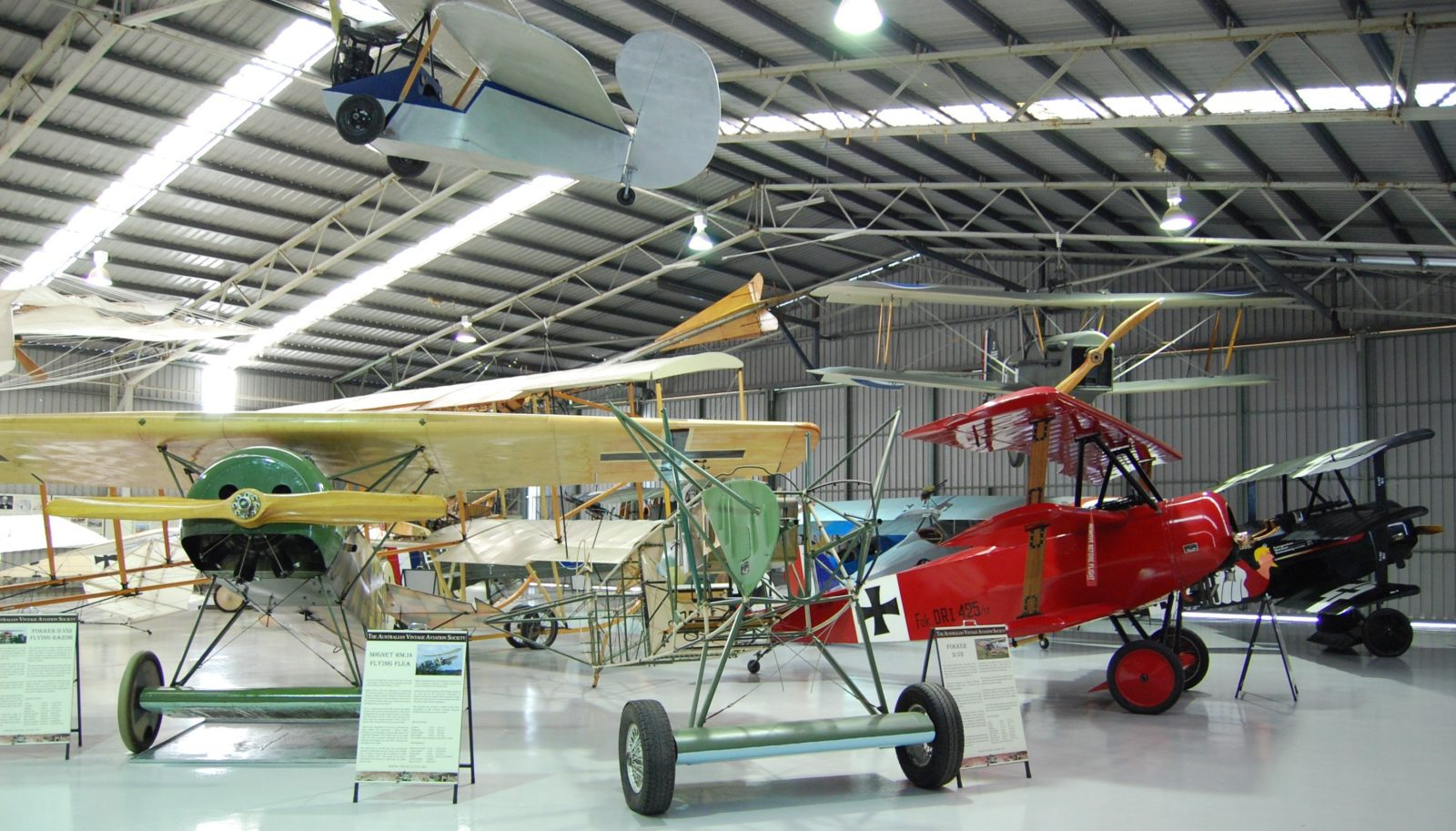 Some of the World War One Fokker aircraft on display within TAVAS museum