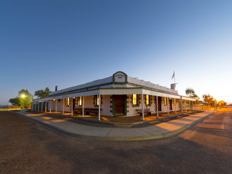 Birdsville Hotel at sunrise