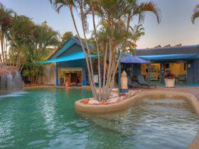 Heated pool with Swim up Bar