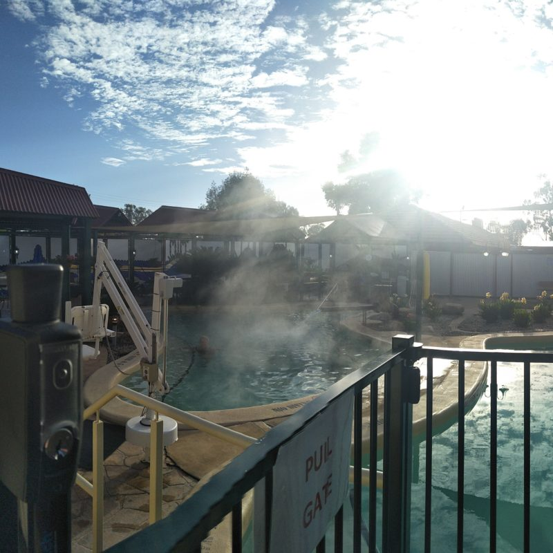 Steam rising from the spa at opening time.