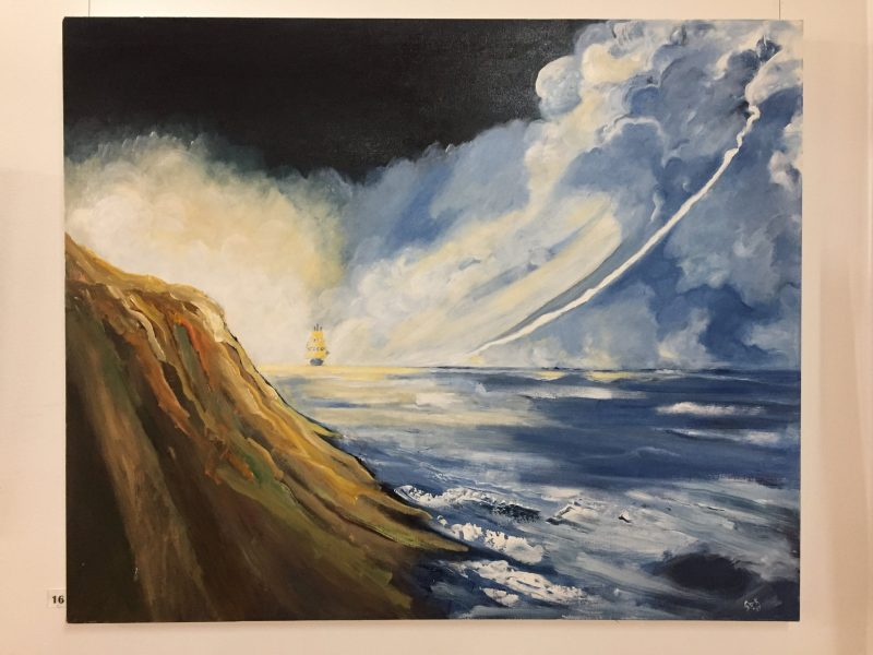 a large painting of a boat and a dramatic seascape
