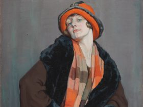 Painting of flapper woman in orange hat & scarf, brown coat & fur on brown background
