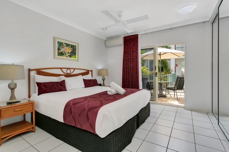 Spacious well appointed bedrooms with air conditioning, ceiling fans and private balcony.