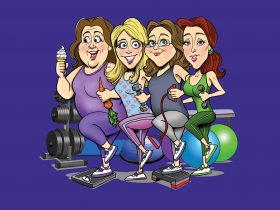 Cartoon version of the four ladies, in exercise gear