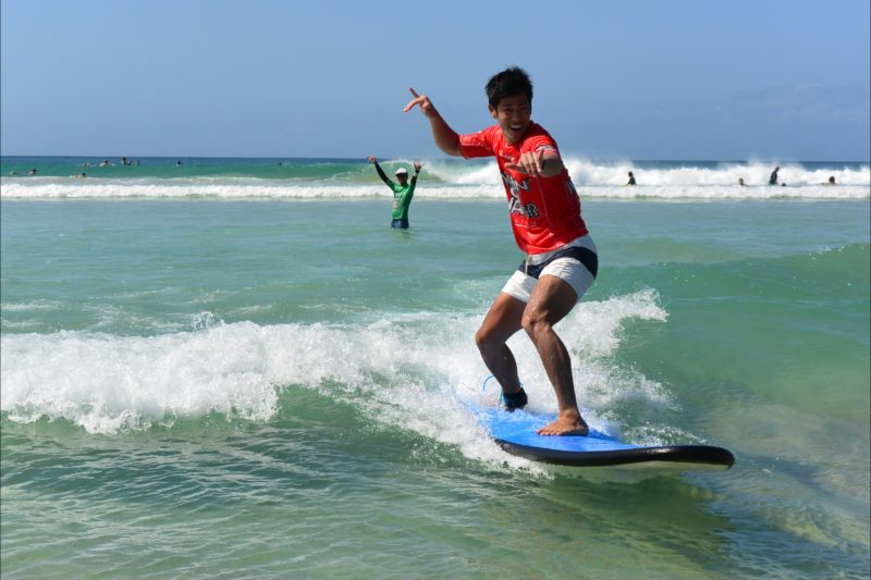Plenty of fun in their surf lessons for everyone