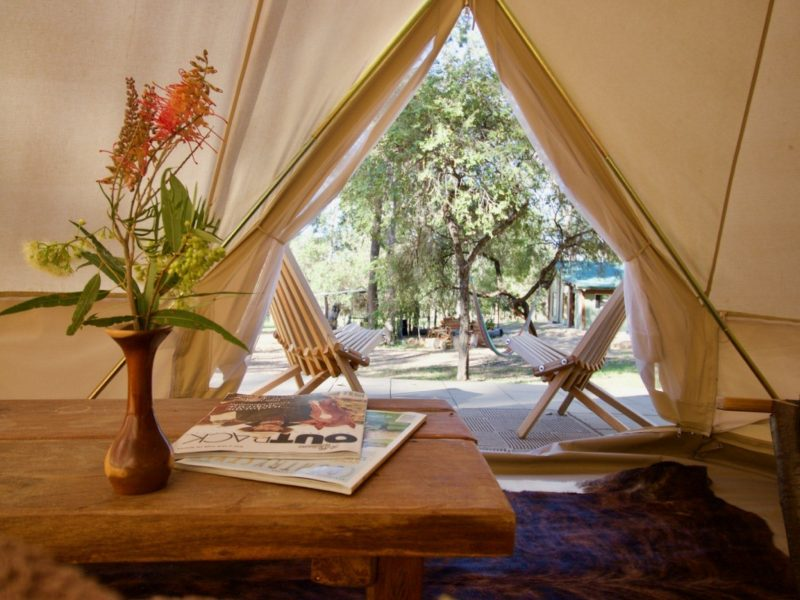 Your view from inside your glamping tent.