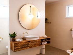 Mango wood vanity in bathroom