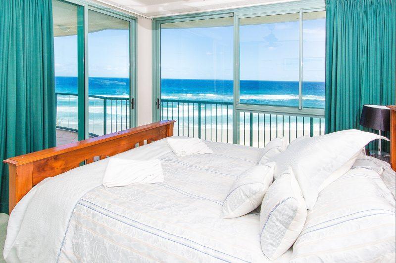 Waterford on Main Beach - Master Bedroom showing Balcony & Ocean Views
