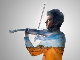 Image of man playing violin superimposed with image of outback Queensland