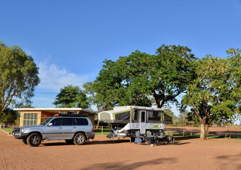 Treed surrounds at Windorah Caravan Park