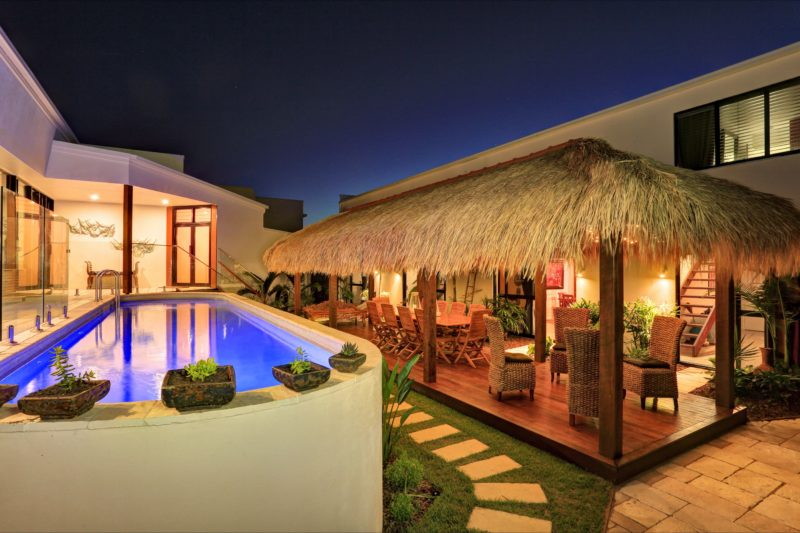 The interior garden area with pool and bali hut