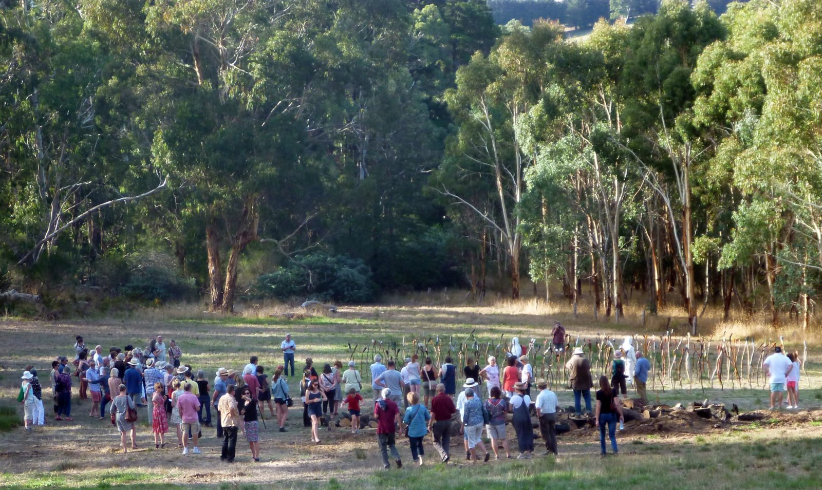 Opening afternoon performance watched by exhibition visitors 2016 Heysen Sculpture Biennial