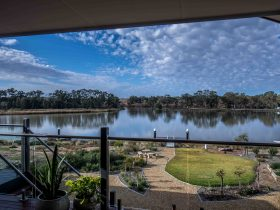 Overlooking the marina at Mannum Waters