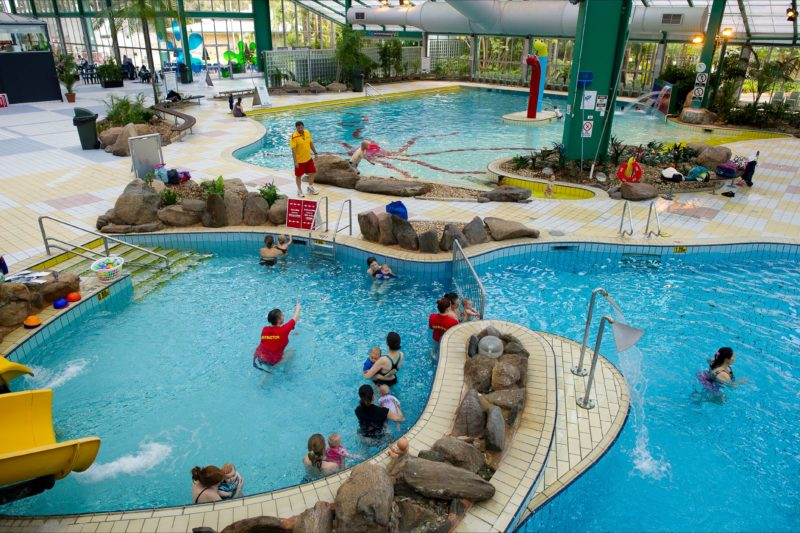 Splash pad, water play, water slides, pools, water