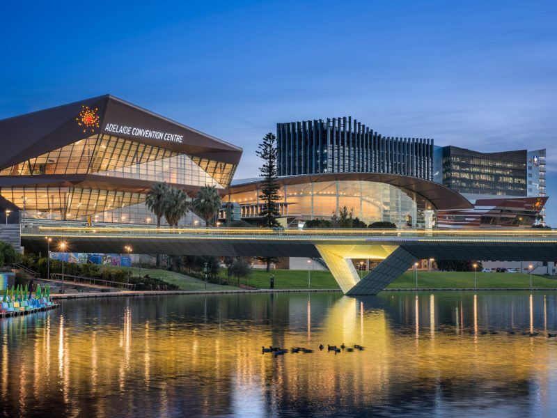 Looking across the River Torrens to the Adelaide Convention Centre at dusk.