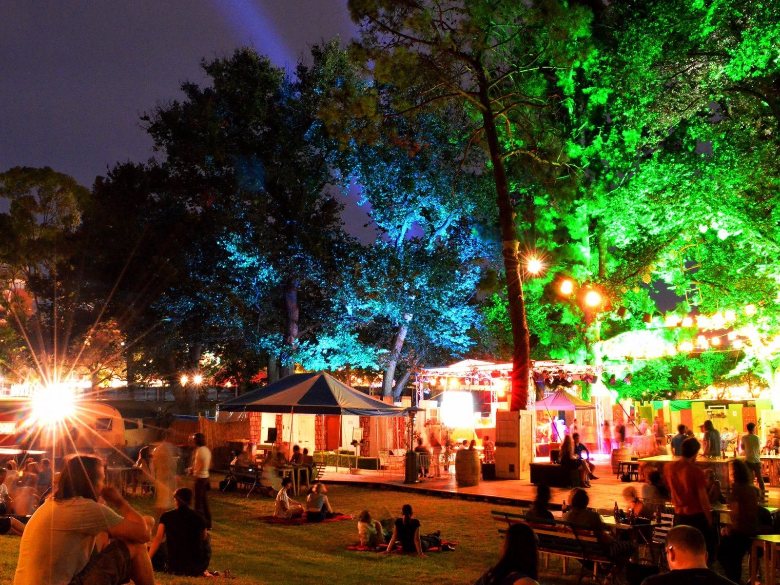 Adelaide Fringe Festival audiences enjoying the night in the Garden of Unearthly Delights