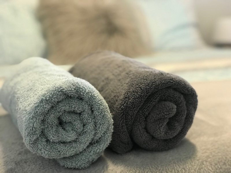 Quality towels, bed linen & fluffy dressing gowns included
