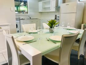 Six seater dining area & fully equipped kitchen
