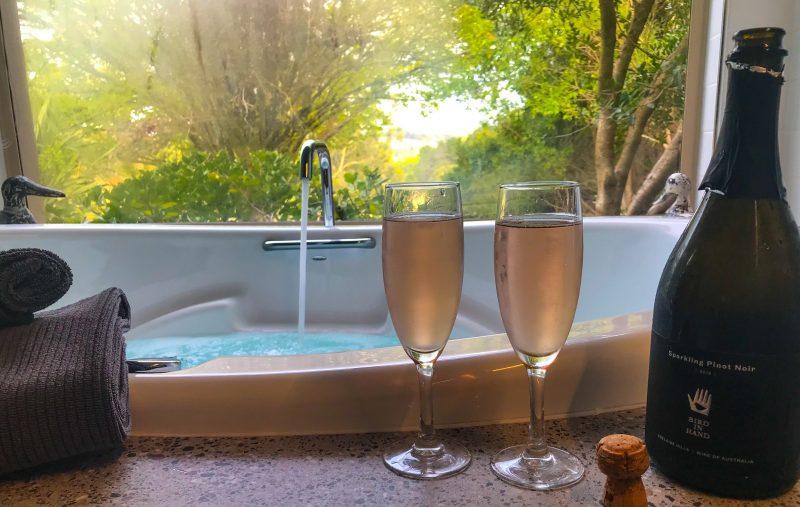 Adelaide Hills Retreats- The Nest spa bath