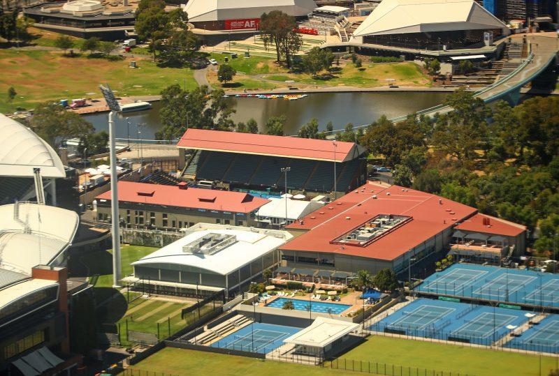 Aerial view of Tennis Centre before roof