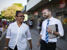 Australian volunteer Mark and his colleague in Solomon Islands