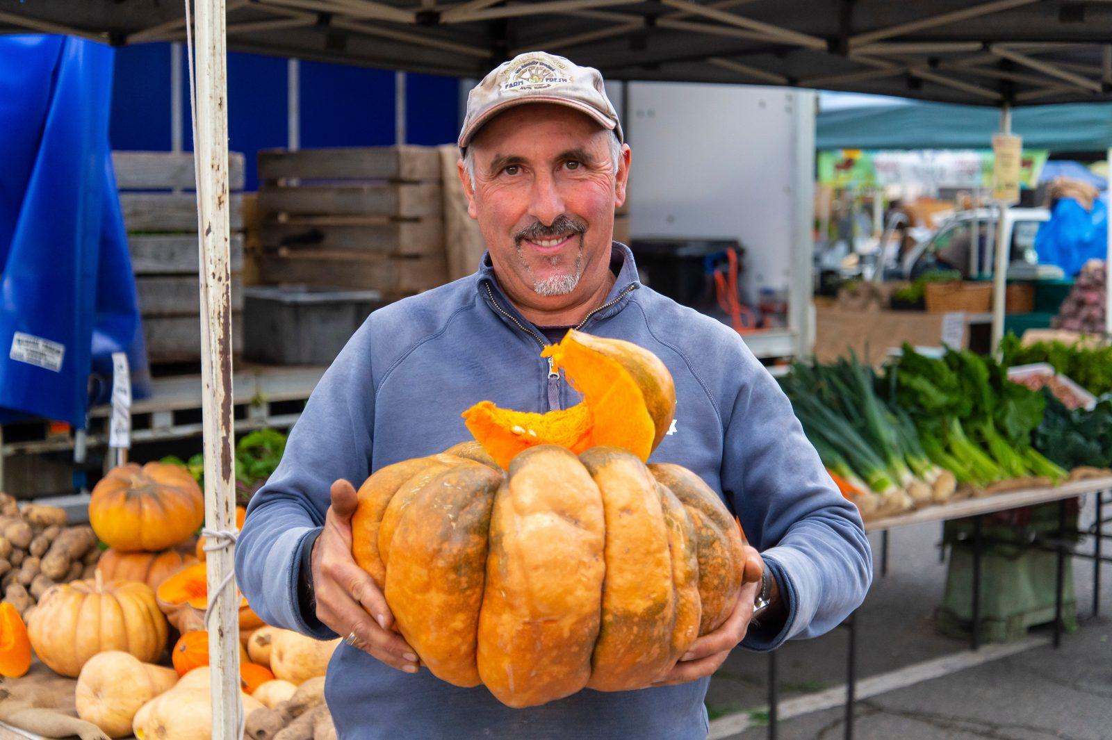 Frank Vergara with his heritage pumpkins