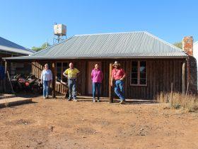Sally, David, Keziah & John Henery, Generations 5 & 6, in front of original Alpana cottage c1878
