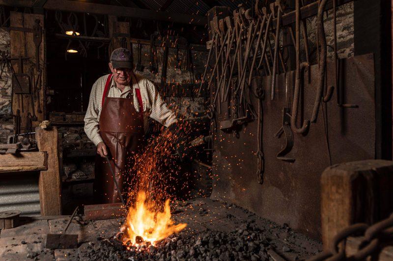 Angaston blacksmith at the forge