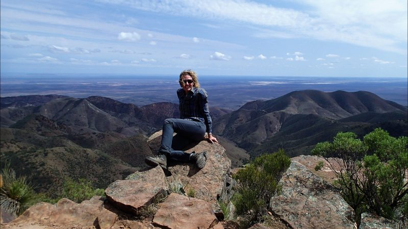Walker on summit in the Flinders Ranges
