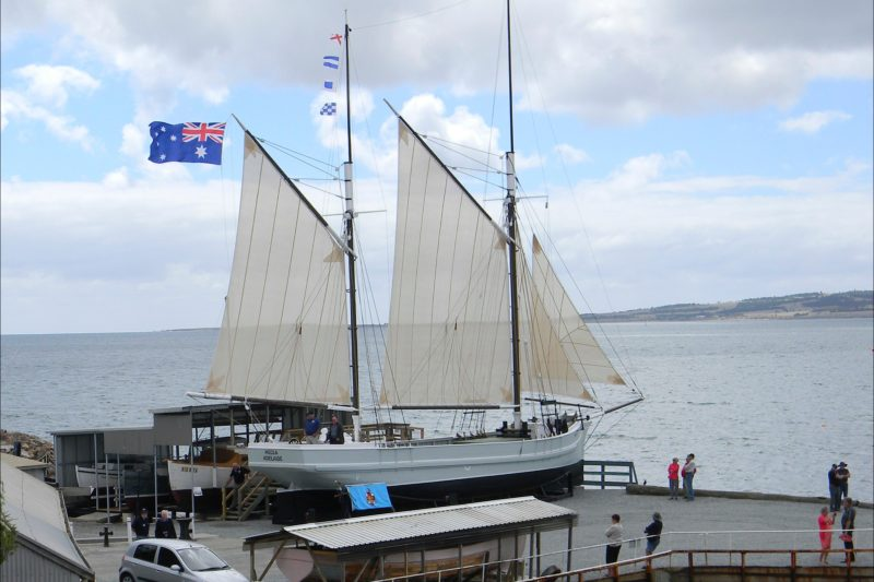 """Trading ketch """"Hecla"""" on the hardstand"""
