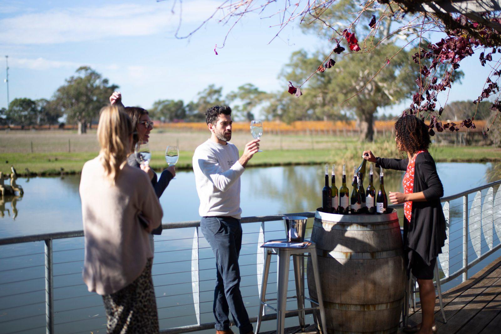 wine tasting on the deck